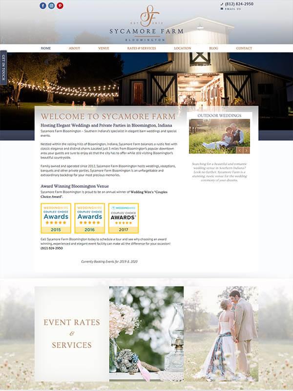 Bloomington Web Design - Sycamore Farm