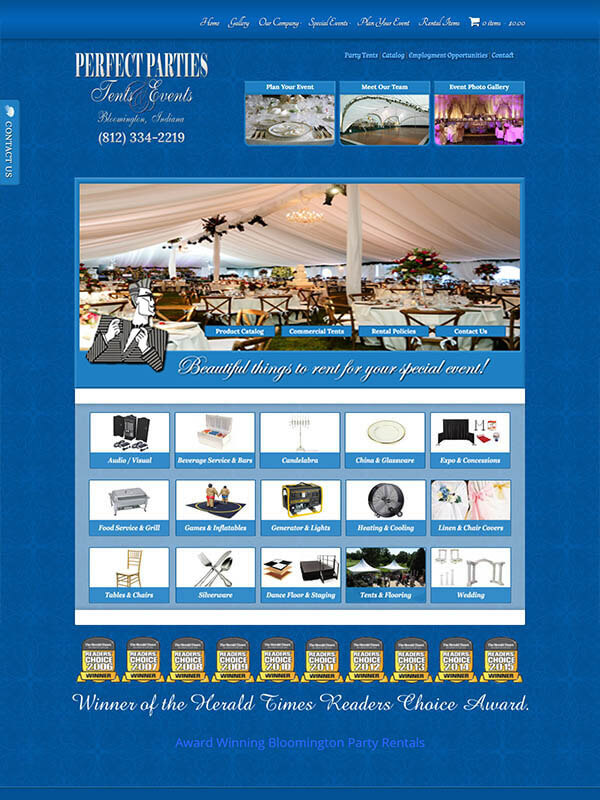 Bloomington Website Designer - Perfect Parties Tents and Events
