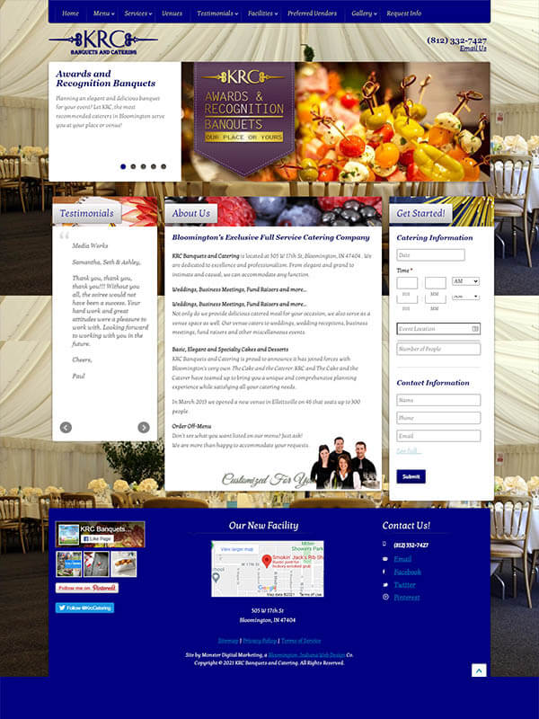 Bloomington Websites - KRC Banquets and Catering