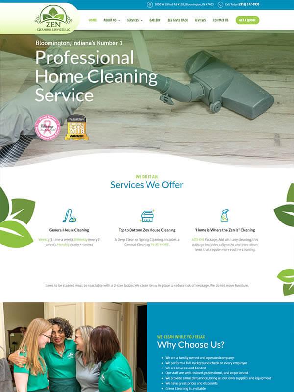 Web Design Services Bloomington - Zen Cleaning Services LLC