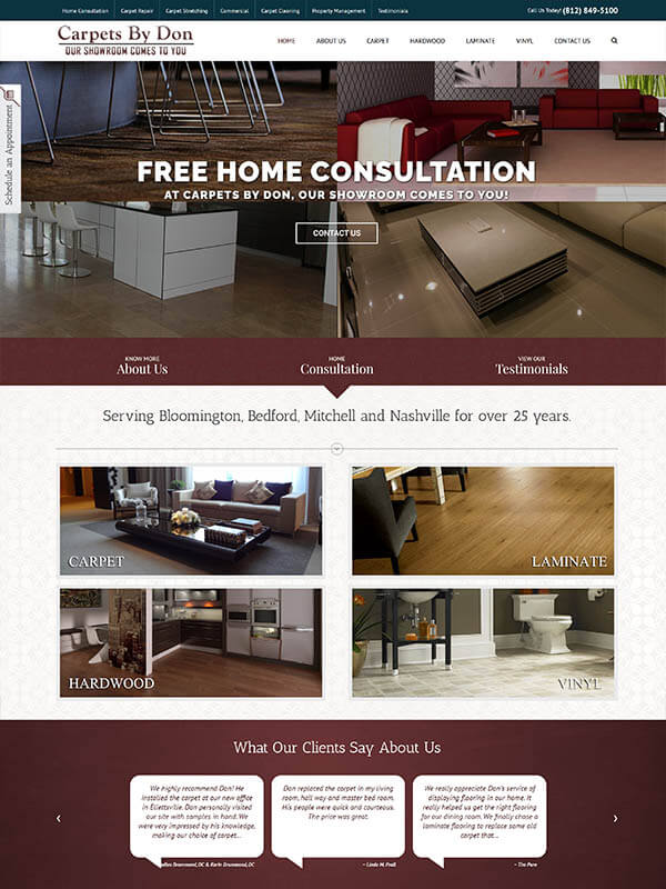 Bloomington, IN Web Hosting - Carpets by Don - screenshot