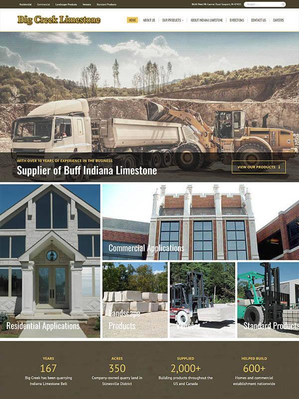 Bloomington, IN Website Design - Big Creek Limestone - screenshot