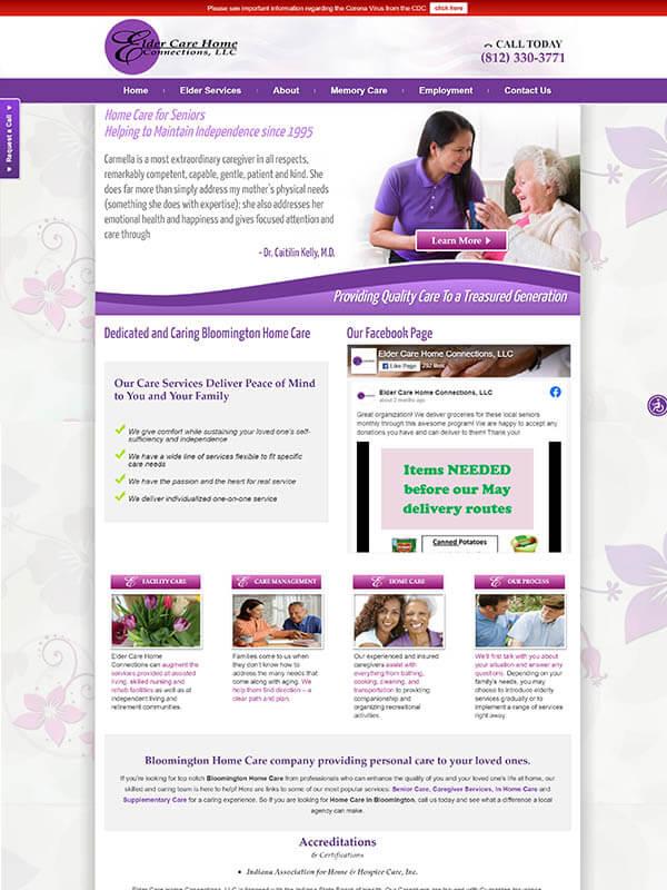 Bloomington SEO Optimization - Elder Care Home Connections, LLC