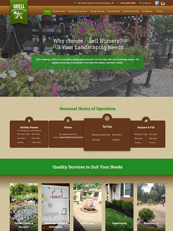 Bloomington Web Design - Abell Nursery & Landscaping - screenshot
