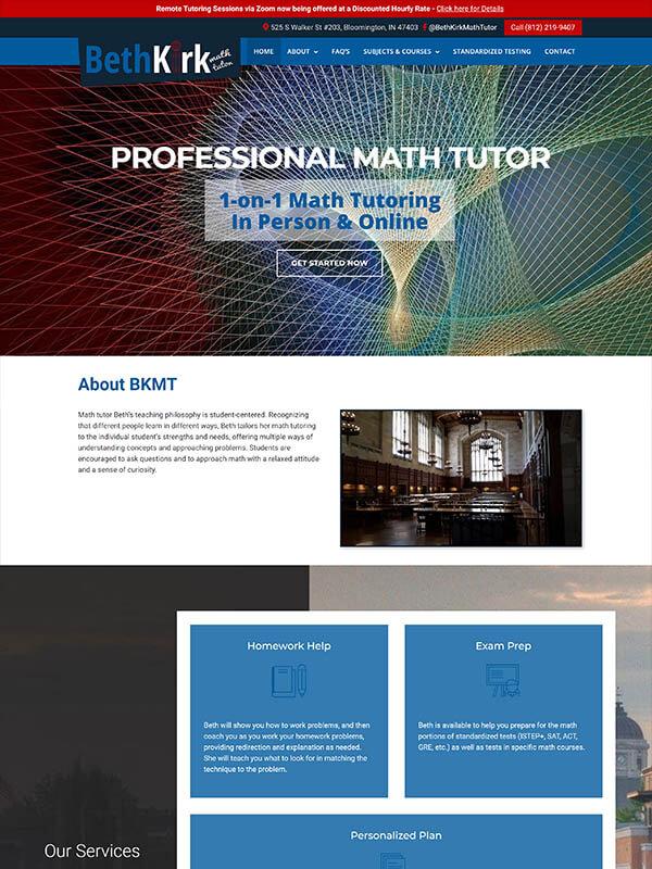Bloomington Website Design - Beth Kirk Math Tutor - screenshot