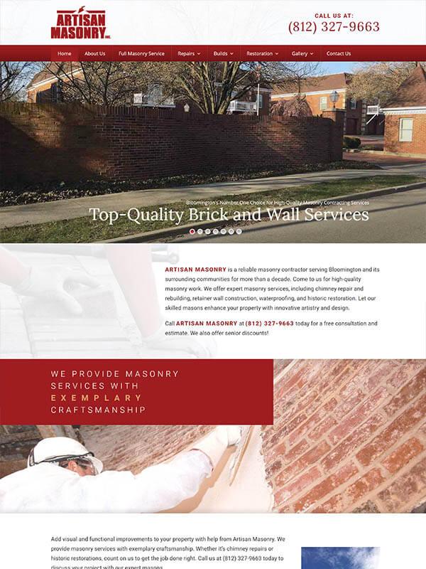 Web Design Bloomington - Artisan Masonry Inc - screenshot