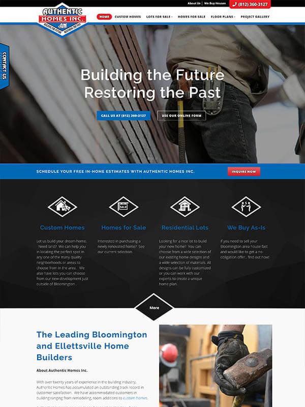 Web Design Bloomington, IN - Authentic Homes Inc - screenshot