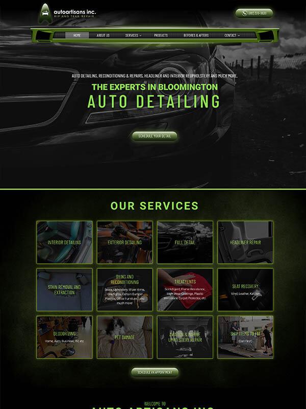 Web Design Bloomington, Indiana - Auto Artisans - screenshot