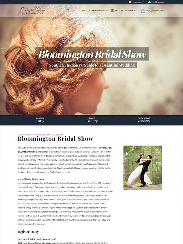 Website Design and Hosting Company - Bloomington Bridal Show - screenshot