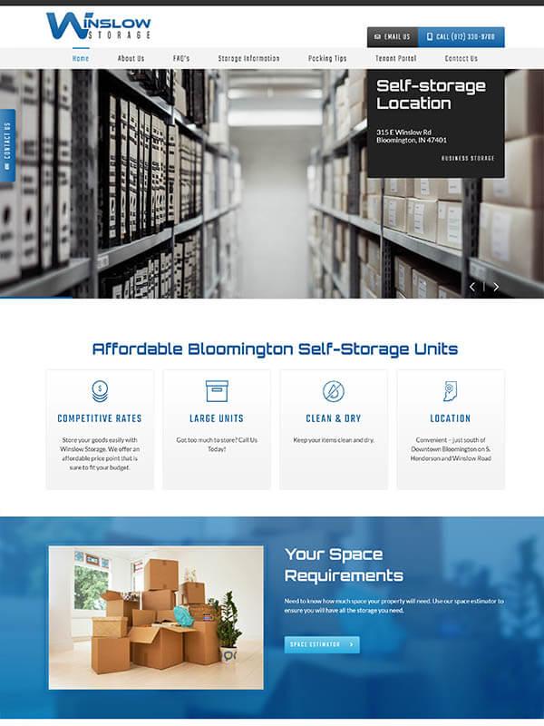 Website Hosting Bloomington - Winslow Storage