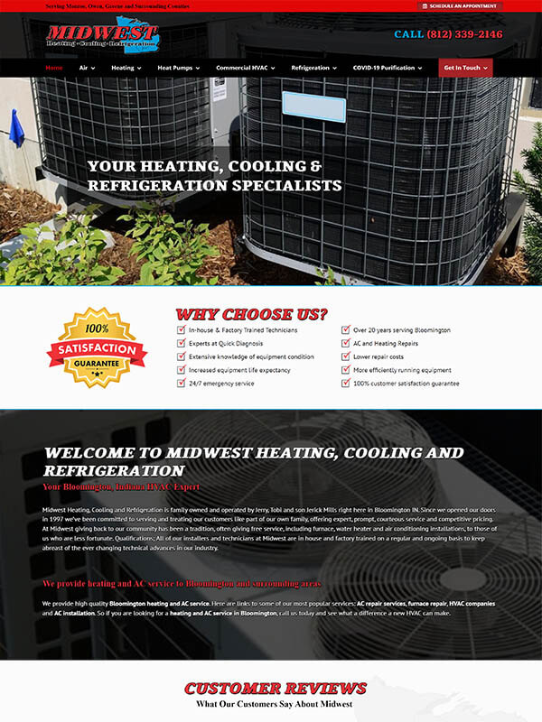 Bloomington Web Design - Midwest Heating, Cooling and Refrigeration