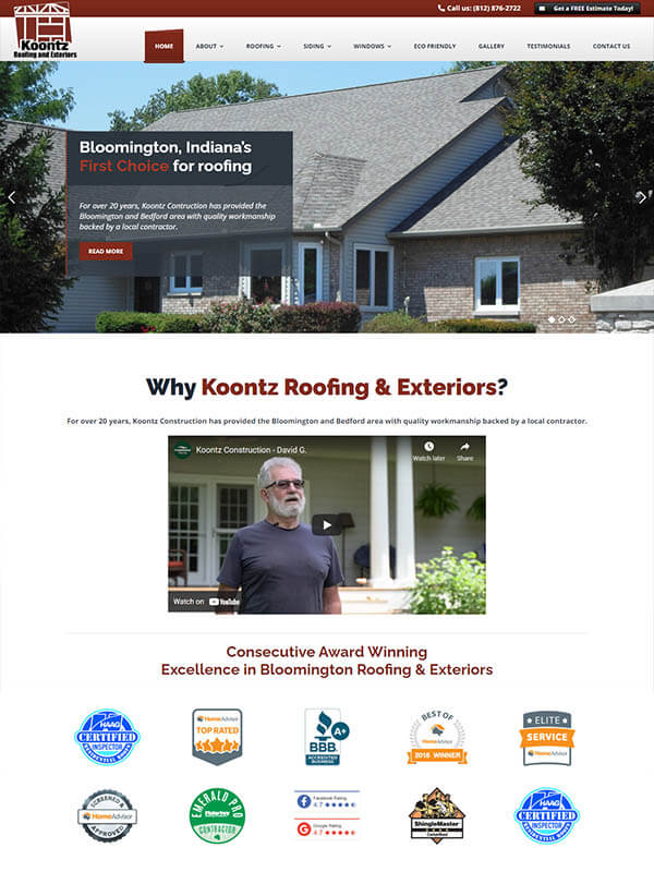 Bloomington Content Creation - Koontz Roofing and Exteriors