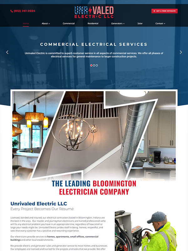 Websites in Bloomington - Unrivaled Electric LLC
