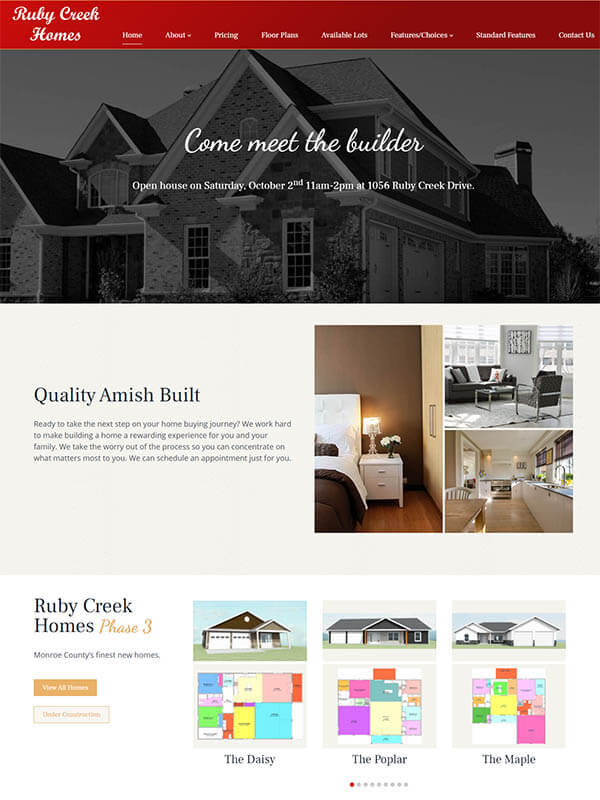 Bloomington Web Design - Ruby Creek Homes